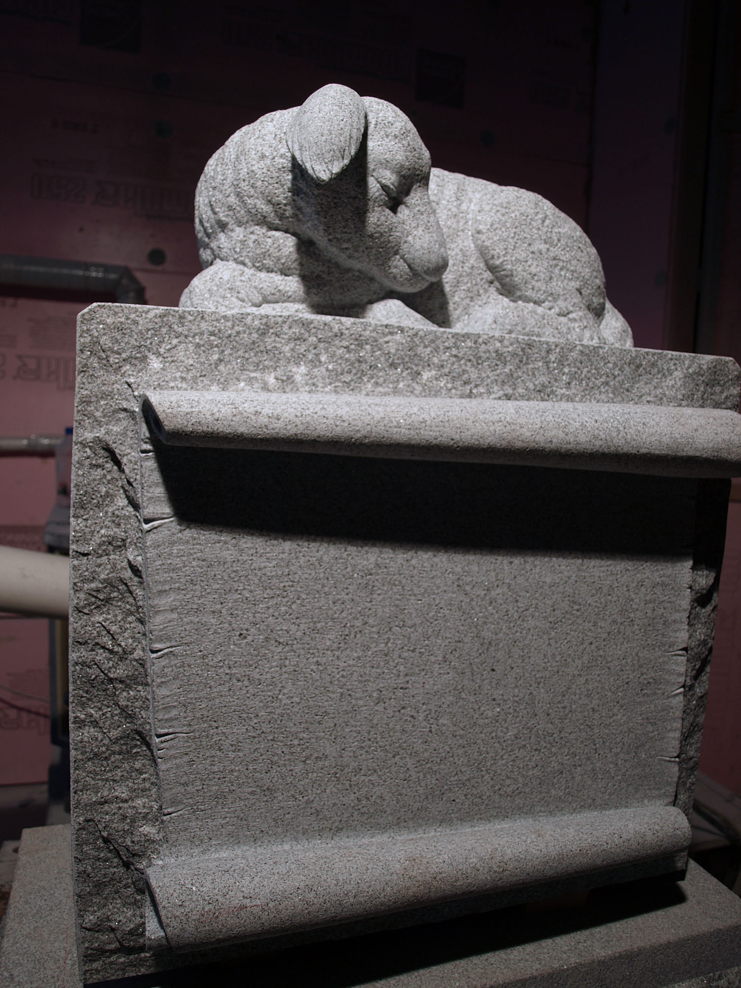 Sleeping Lamb Granite Carving Monument