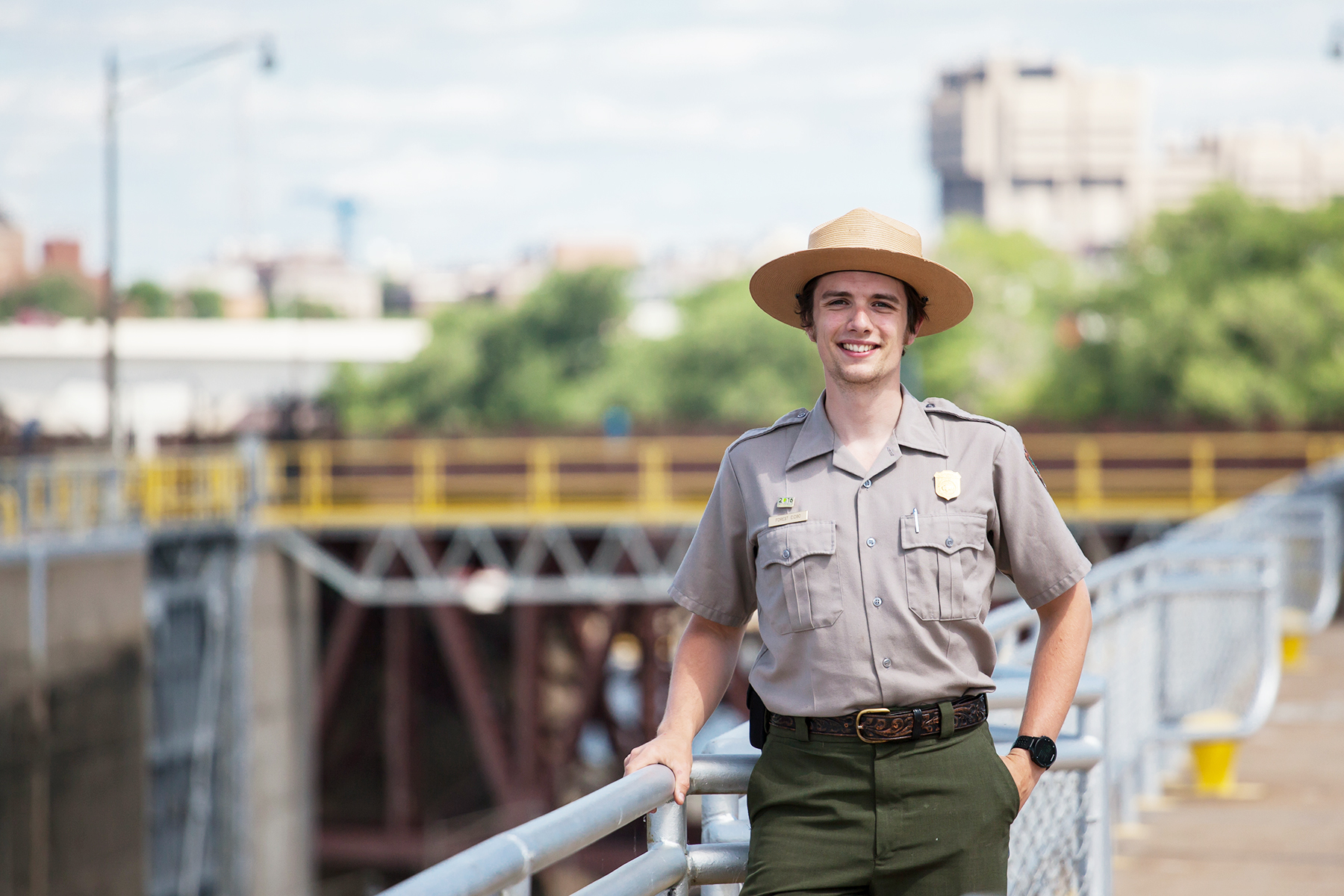 National Park Service ranger at Upper St. Anthony Falls Lock and Dam.