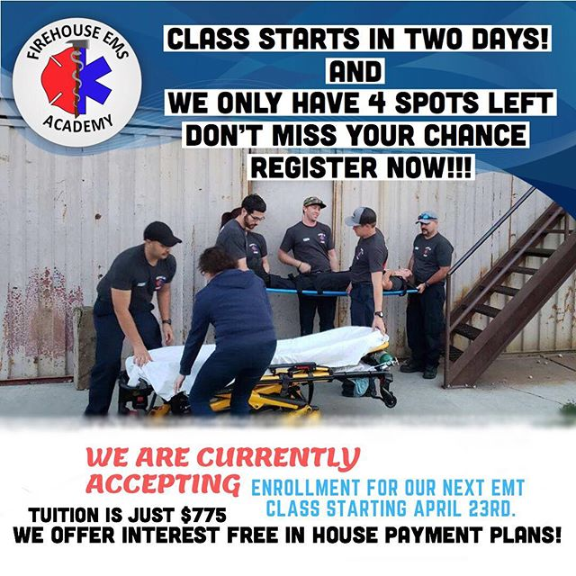 Our next class starts in two days and is almost full, but it's not to late to register. We still have 4 spots available! We offer in house interest free payment plans, which are extremely affordable. So what's your excuse? Start working towards your goals, and become an EMT. There have never been more opportunities, or higher pay than now! Join us and come learn how to be an EMT from practicing Paramedics that know the industry!