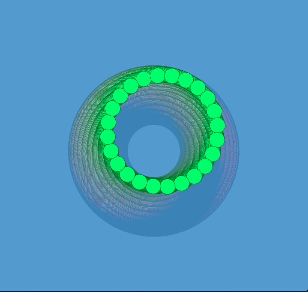 Click the picture for a full screen version.  I learned in this example how to translate, rotate, and use a FOR loop to draw a ring of circles as well as use mouseX / mouseY to control elements of the drawing.