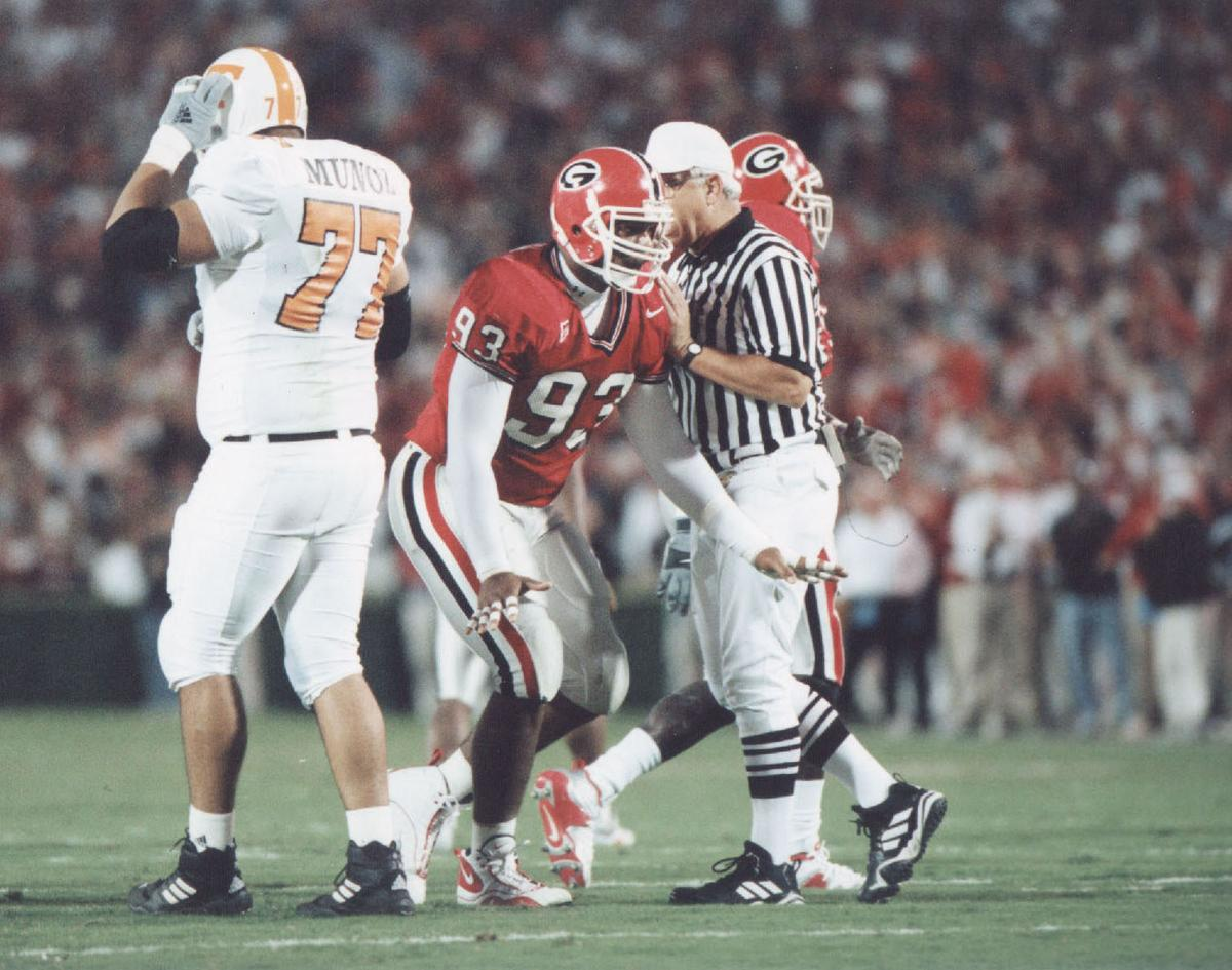 Georgia defensive lineman Richard Seymour during Georgia's 21-10 win over Tennessee in 2000.  Courtesy UGA Sports Comm.