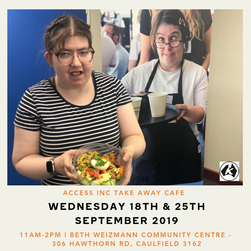 Eat in or take-away every wednesday! - We will be selling our delicious sandwiches, wraps, granola bowls, brownies, hot drinks and YUMMY WEEKLY SPECIALS. All keenly prepared by Access Hospitality students.You can also use your loyalty card at the new pop up take-away location.