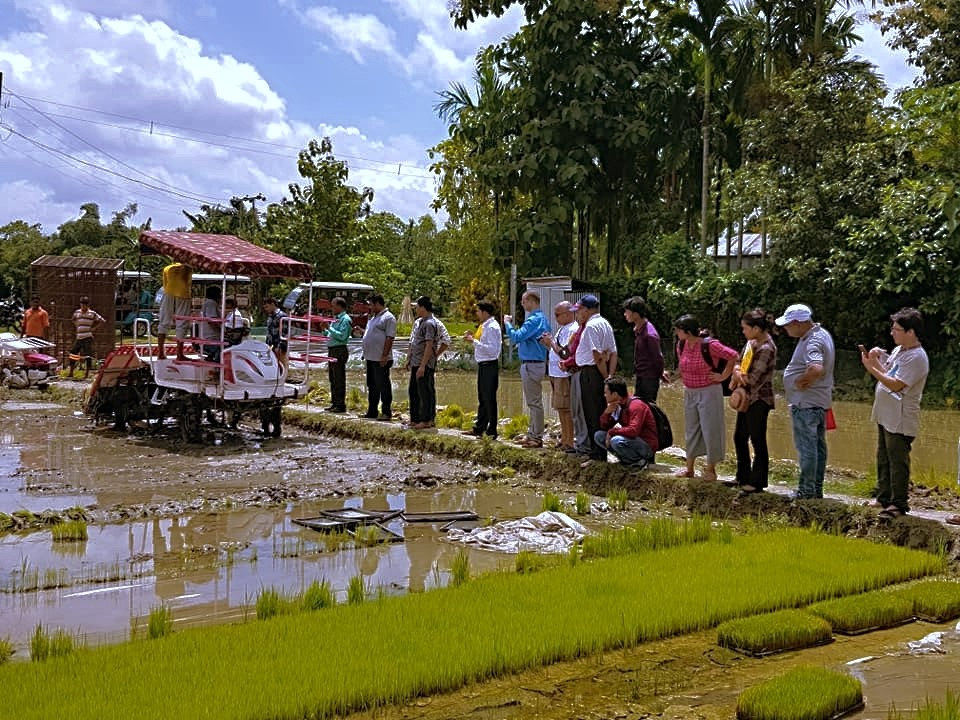 Participants view a mechanical rice transplanter being used in the field.