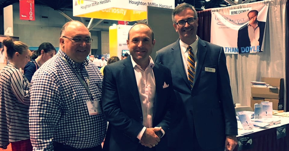 After my keynote to 9,000 people at the NCEA Convention in St. Louis Missouri with NCEA President Dr. Tom Burnford (right) and Superintendent for Palm Beach Florida Gary Gelo (left)