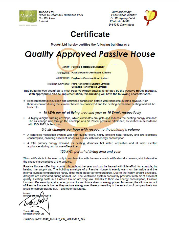 The Passive House Certification certificate