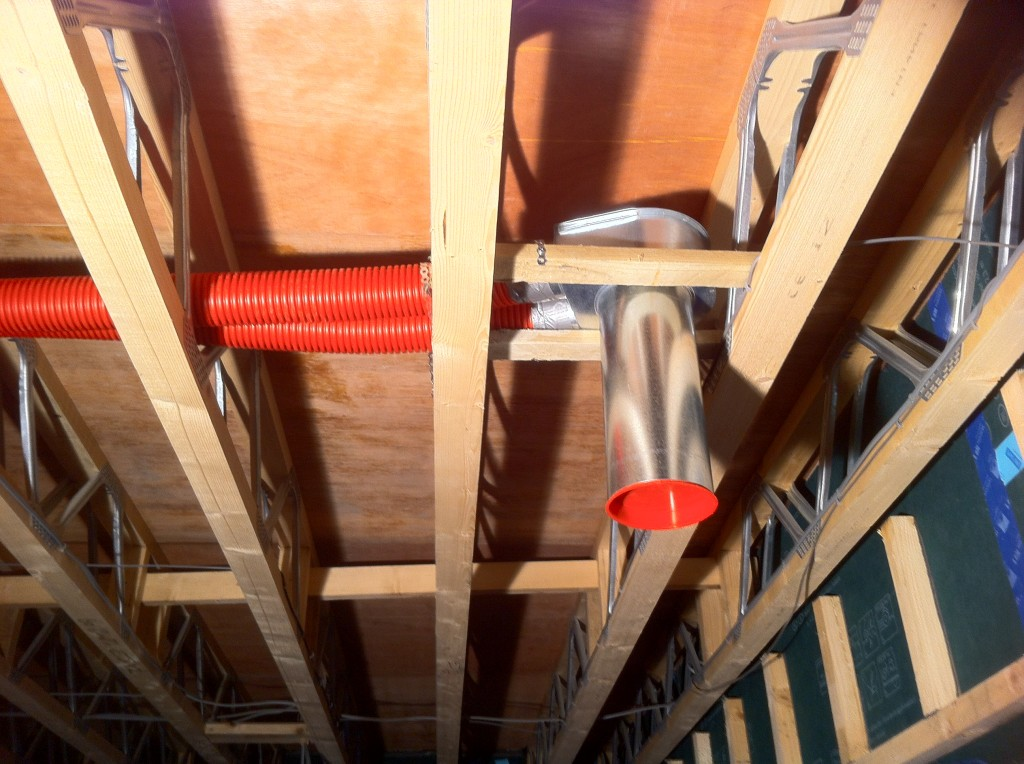 Ducting shown in the floor space