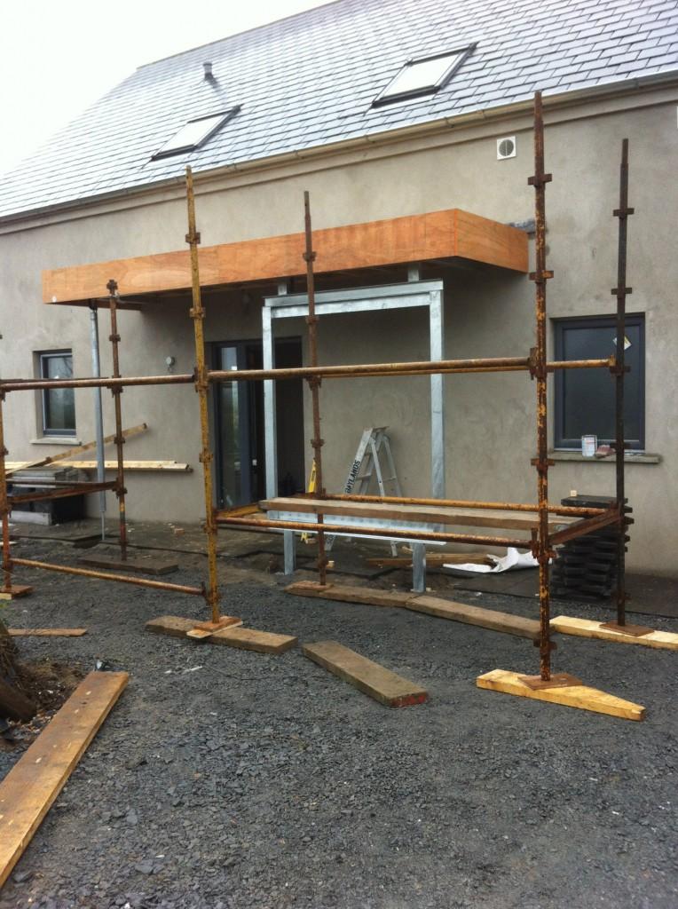 Entrance porch during construction