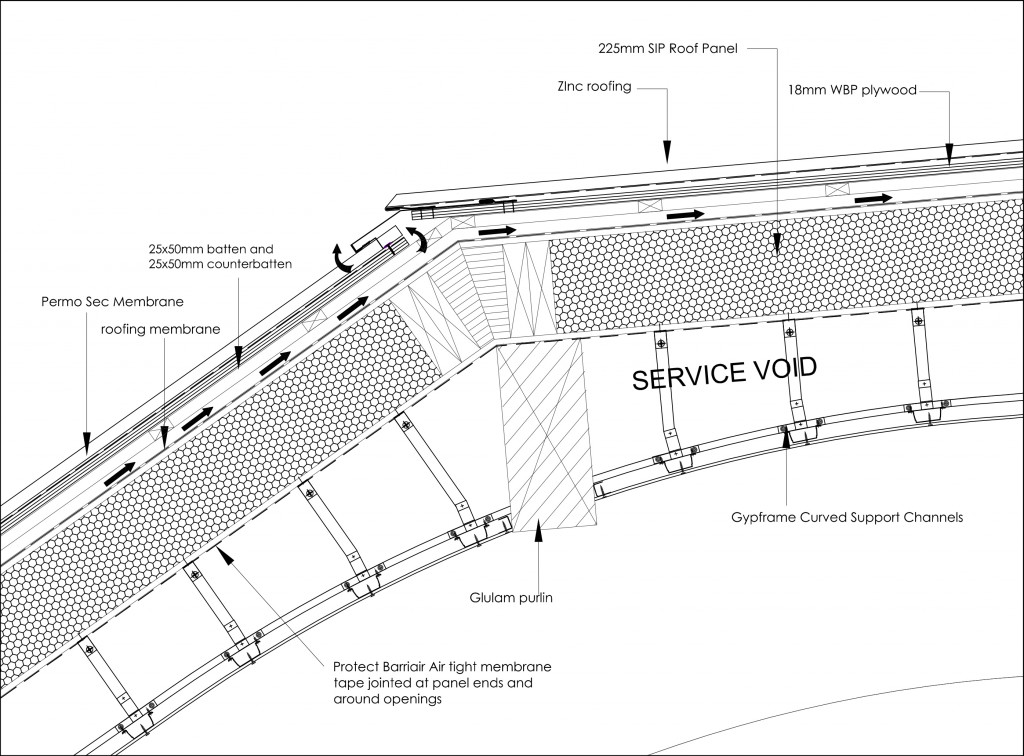 Architects detail hidden roof gutter