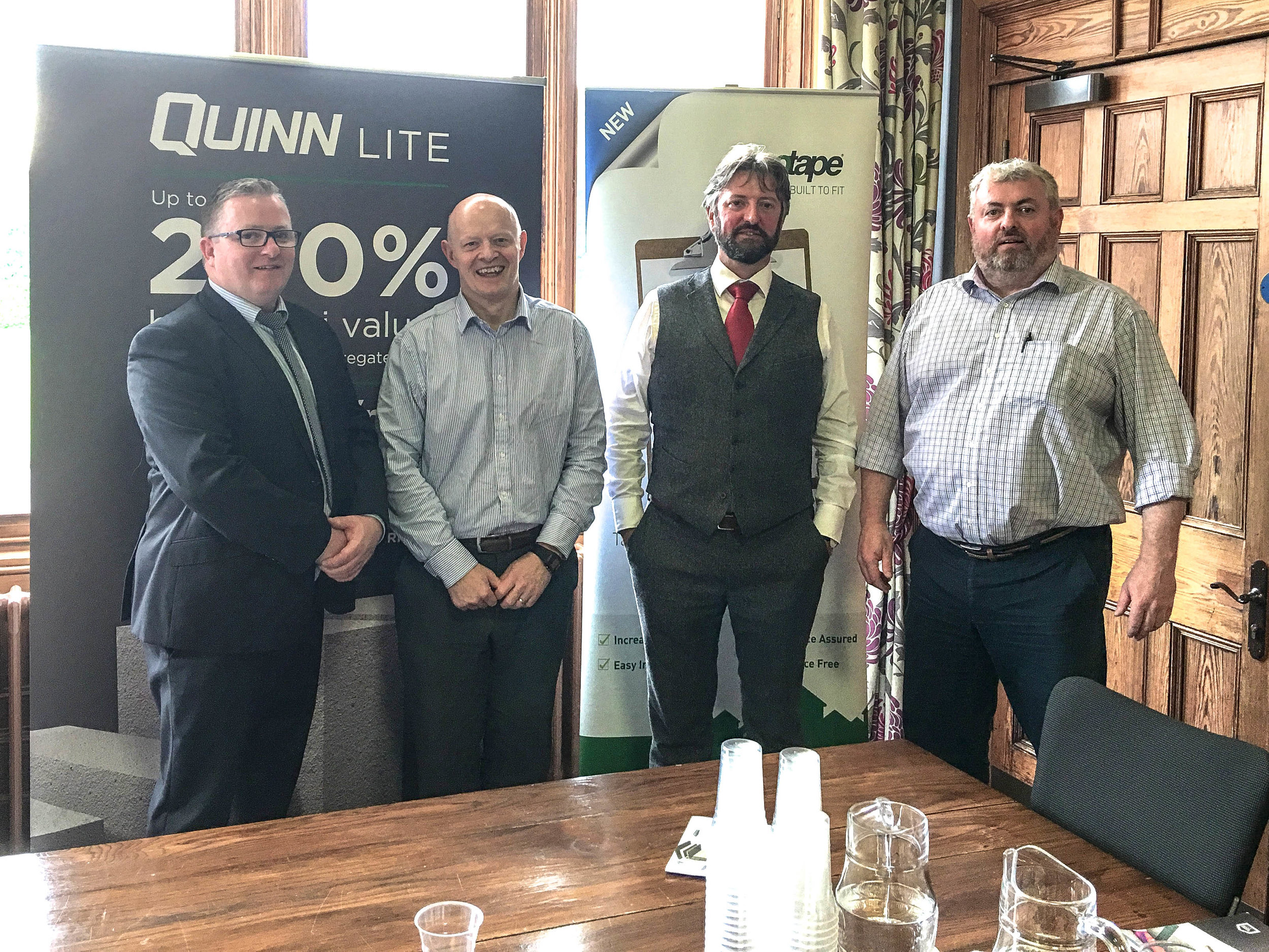 Speakers Declan Loane, Quinn Group, Paul McAlister Passive House Architect, Dr Shane Colclough- PHAI Vice-Chairman, Ulster University, Eddie Ward, Gapogroup