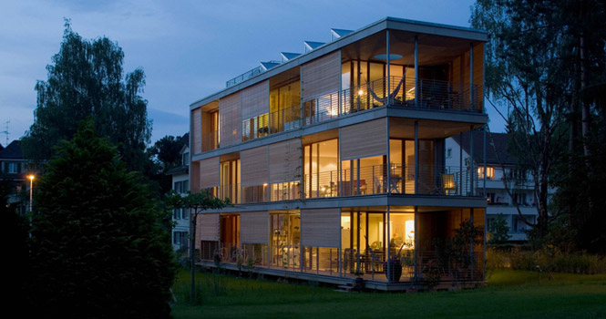 Halle 58 Architekten's three family apartment complex in the outskirts of Bern