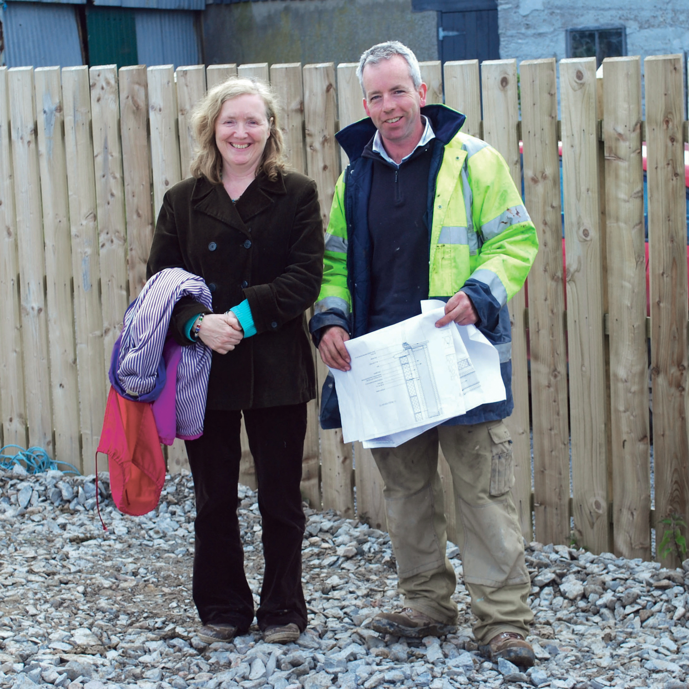 Helen our client with Kevin the builder
