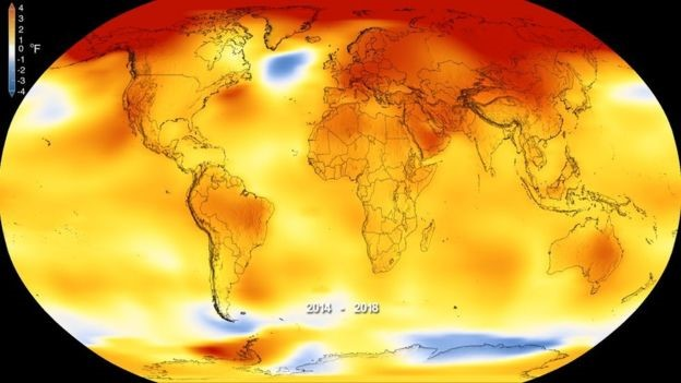 NASA graphic shows the global temperature anomalies between 2014 and 2018