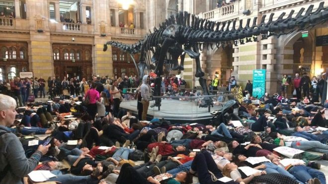 """Protesters at a """"die in"""" in Glasgow"""