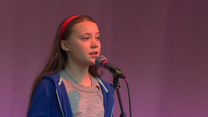 Teen activist Greta Thunberg addresses Extinction Rebellion rally