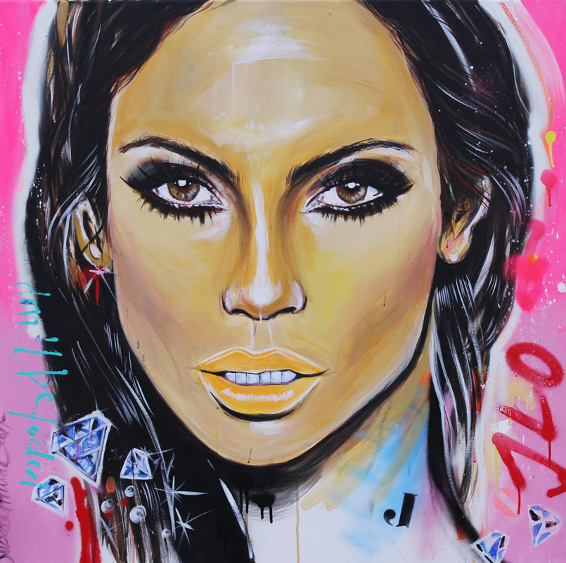 JLO  100 x 100 cm acrylics on canvas  I am such a fan of JLO. She has it all. Class, sass and good feel for fashion, oh and ofcourse she is gorgeous!