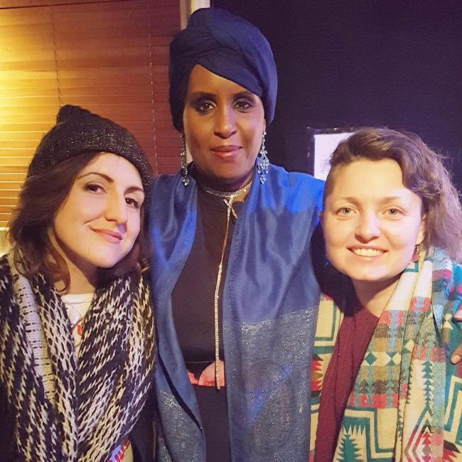 Stacey (left) with Hibo Wardre (centre) and her friend Jasmin