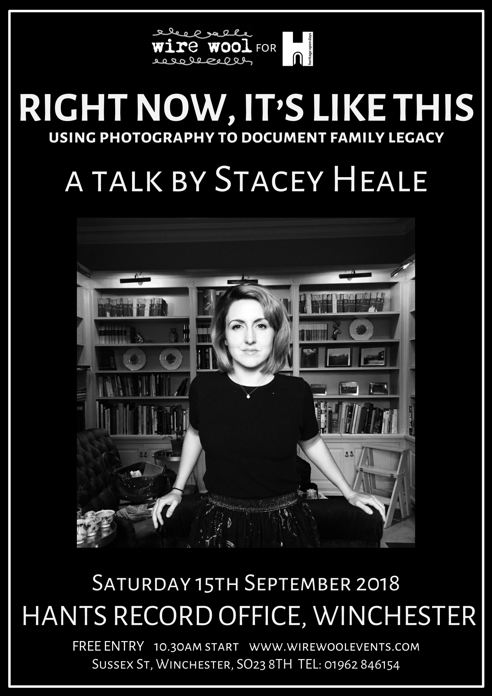 Stacey Heale: Right Now, It's Like This  Saturday, September 15, 2018 10:30am Hampshire Records Office