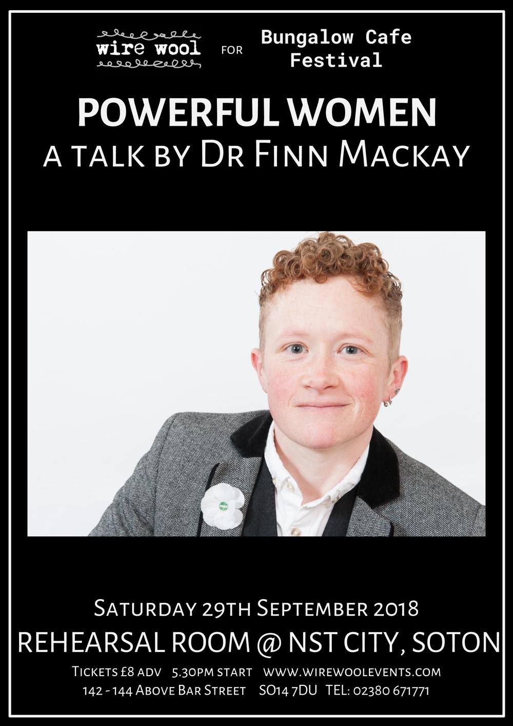 Powerful Women: a talk by Dr Finn Mackay Saturday September 29 2018