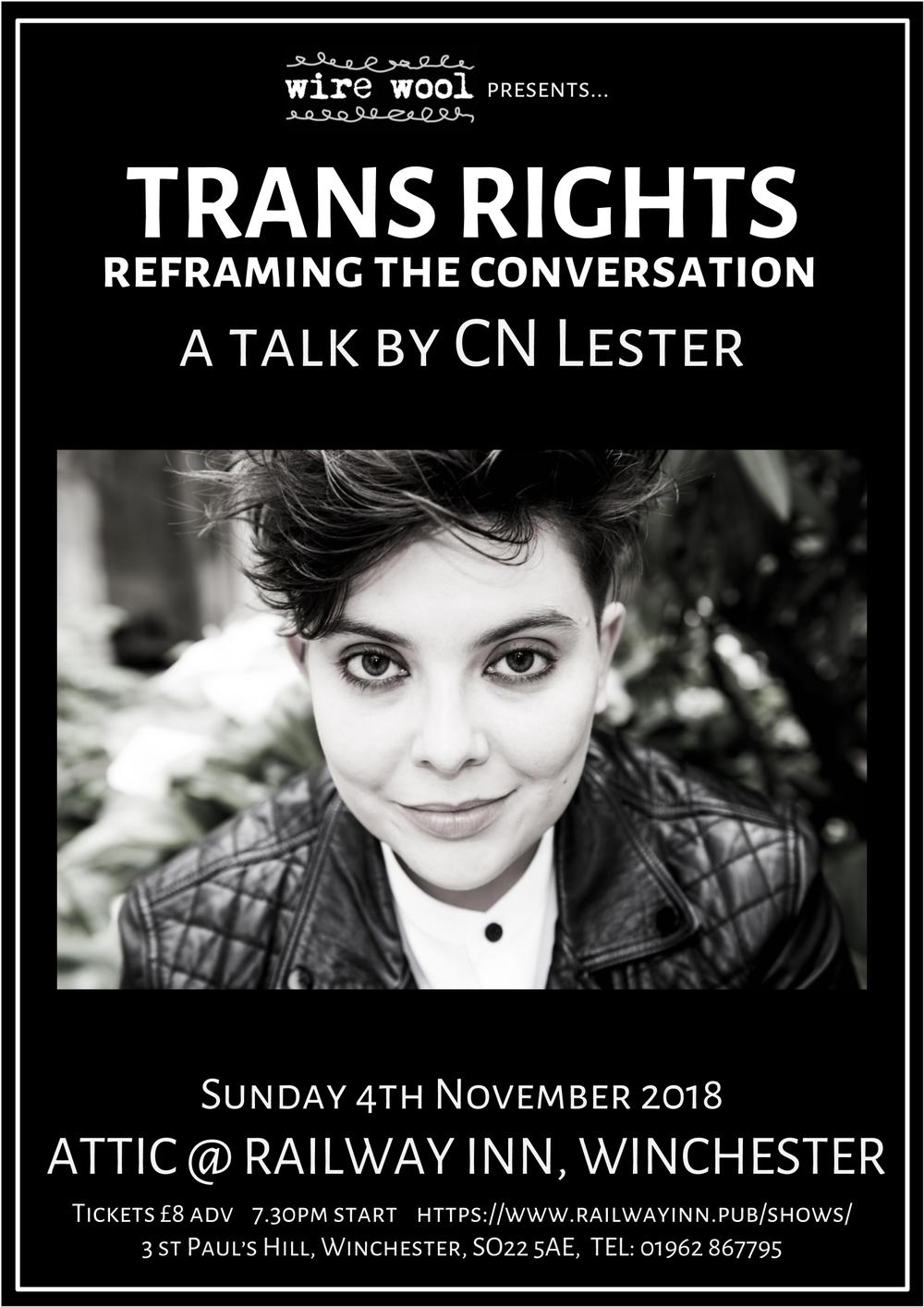 Trans Rights - Reframing the Conversation: a talk by CN Lester Sunday November 4 2018