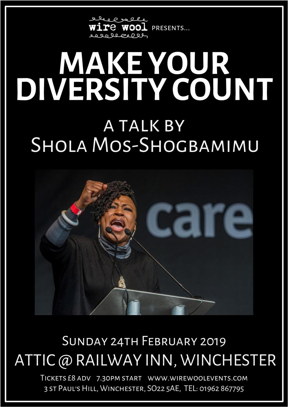 Make Your Diversity Count: a talk by Shola Mos-Shogbamimu Sunday, February 24, 2019