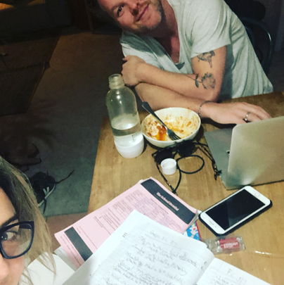 Instagram: @salharley: Happy Monday night. Business owner life. Kids in bed, laptops out to plan work for the week, one-pot wonder in the belly, school dentist form half complete. Fun! Seriously though, a dream to share it with the  #hothusband  🙌🏻🤩
