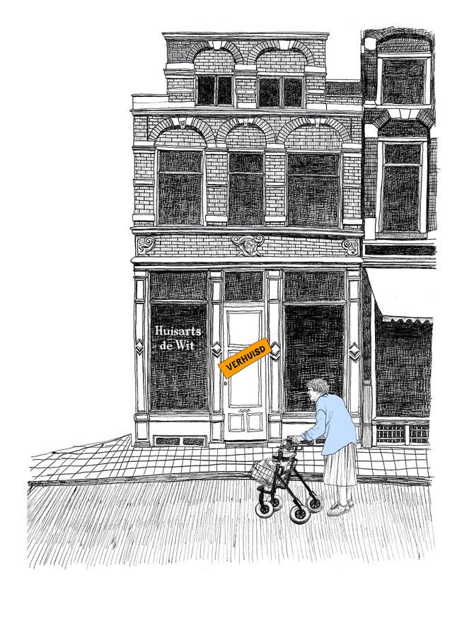 6 april 2019, Amsterdamse huisartsen worden hun praktijk uitgedreven vanwege overhitte woningmarkt en hoge prijzen. Tekening: Ted Struwer voor het Parool.