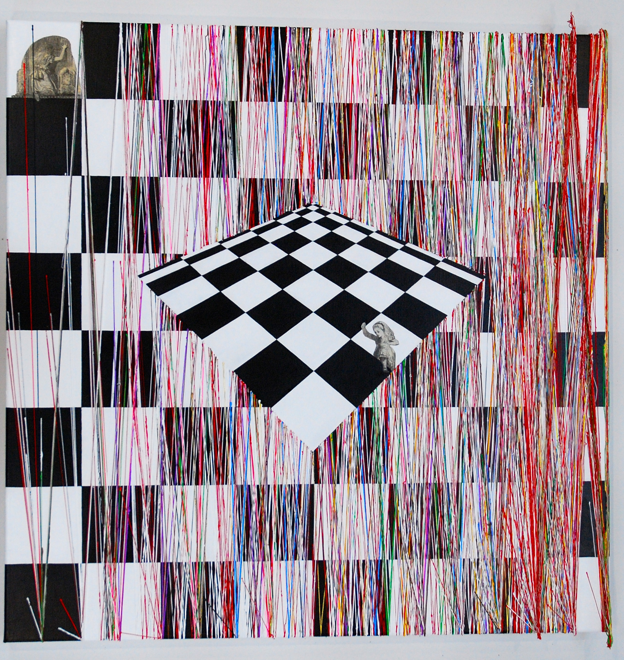 Again using collage of the Tenniel drawings, Alice disappears into the chessboard to re-emerge on the second chessboard and into the world of the viewer. This painting also shows how colours can be extremely unevenly dispersed amidst the text - well over half of them occurring in the last few pages, or the last few squares of the chessboard.