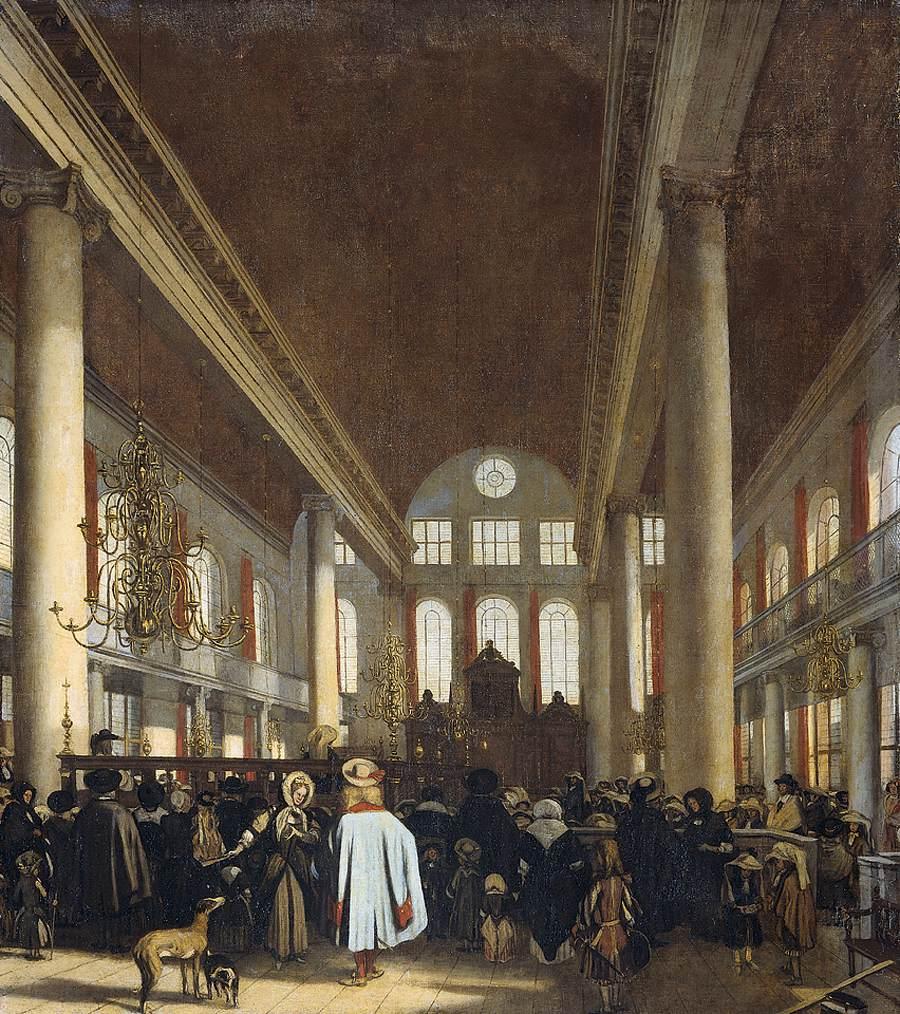 Interior of the Portuguese Synagogue in Amsterdam. Artist:Emanuel de Witte, Rijksmuseum
