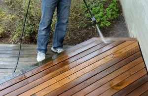 Power Washing a deck renews the surface. -