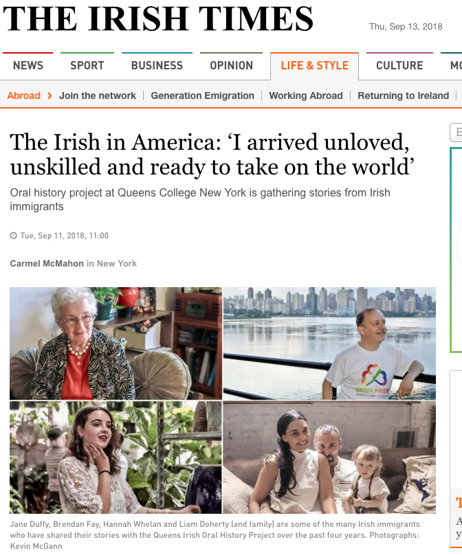 Irish Studies student project - oral history of Irish immigrants featured in the Irish Times