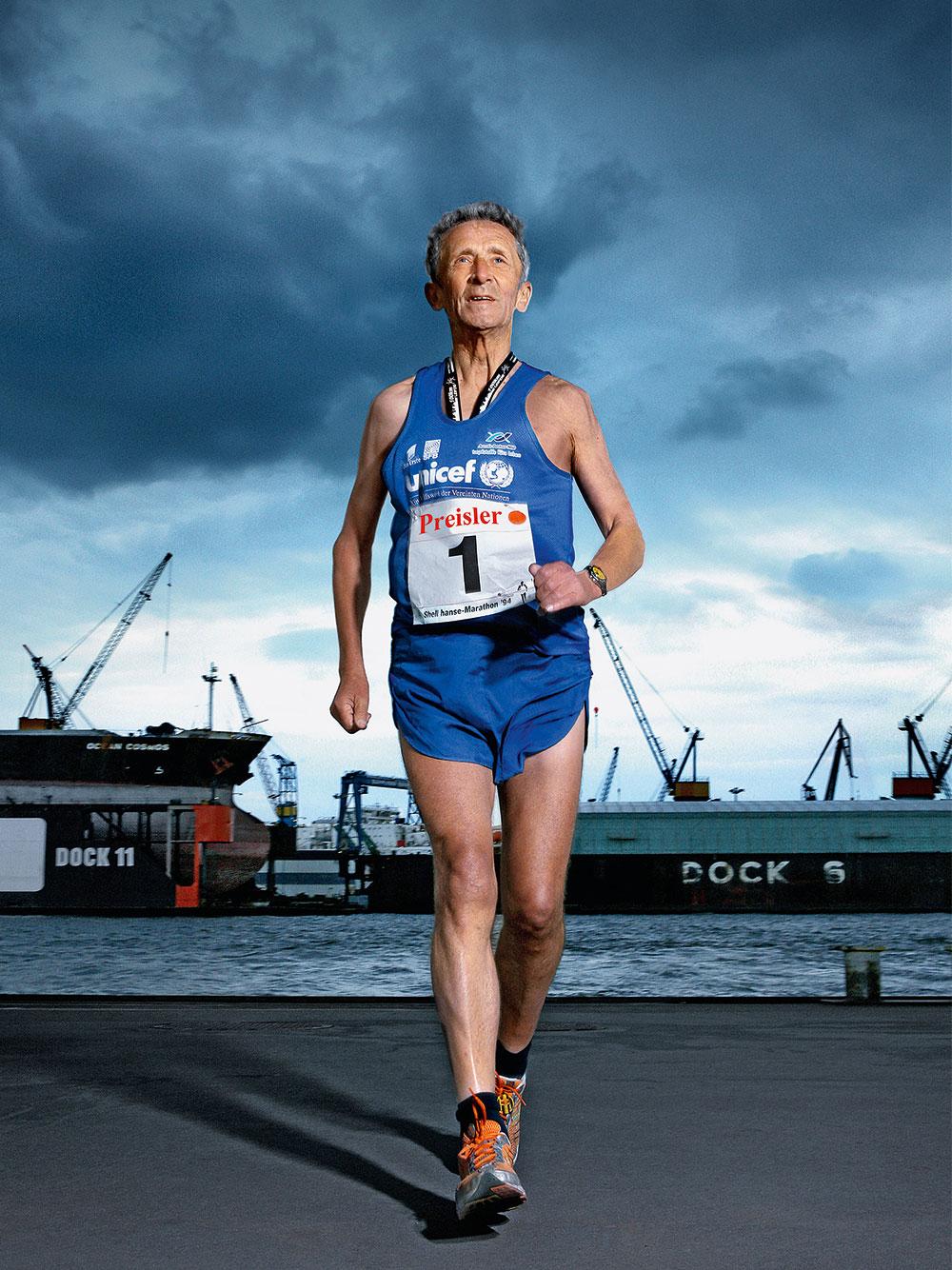 Horst Preisler, 73, Marathonläufer, Hamburg, 2009