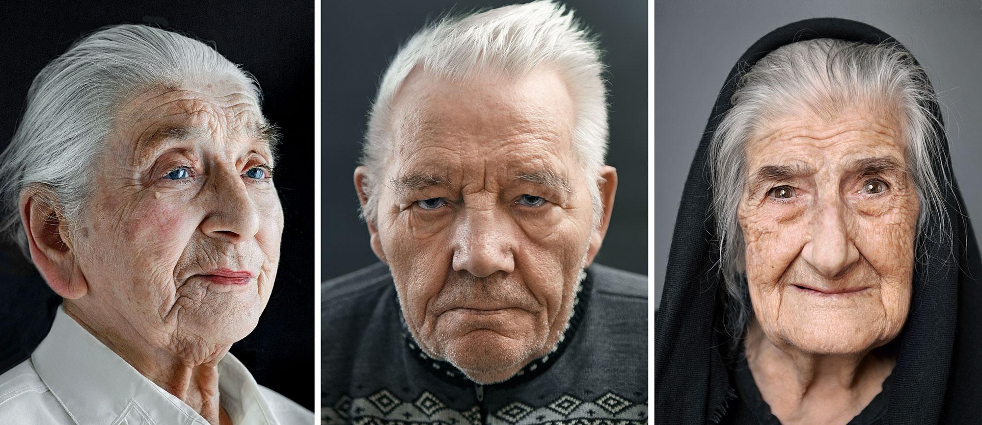 Hessin Berta Preis (102), Isländer Sigurgeir Jonsson (99) und Sardin Tonia Nola (100) aus dem Buch  »100 Jahre Lebensglück«