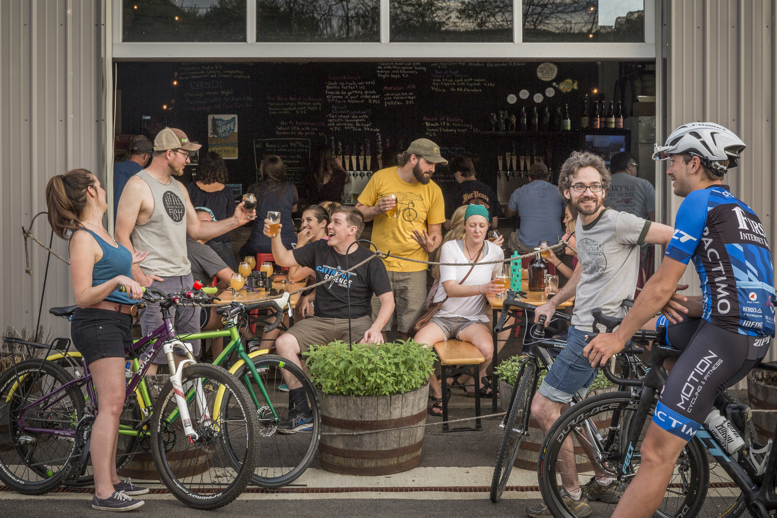 Little Fish Brewing Company in Athens, Ohio is a popular stop for cyclists after a day on the Hockhocking Adena Bikeway.
