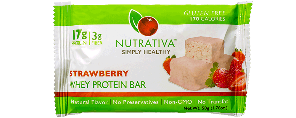 Nutrativa Strawberry Whey Protein Bar
