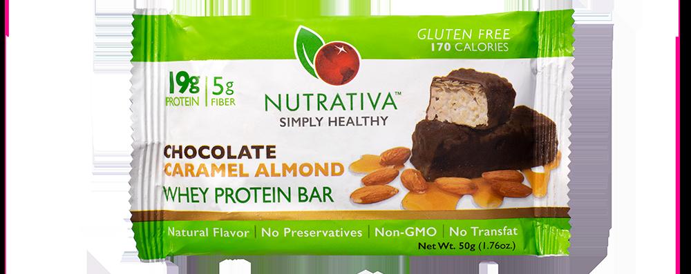 Nutrativa Chocolate Caramel Almond Whey Protein Bar