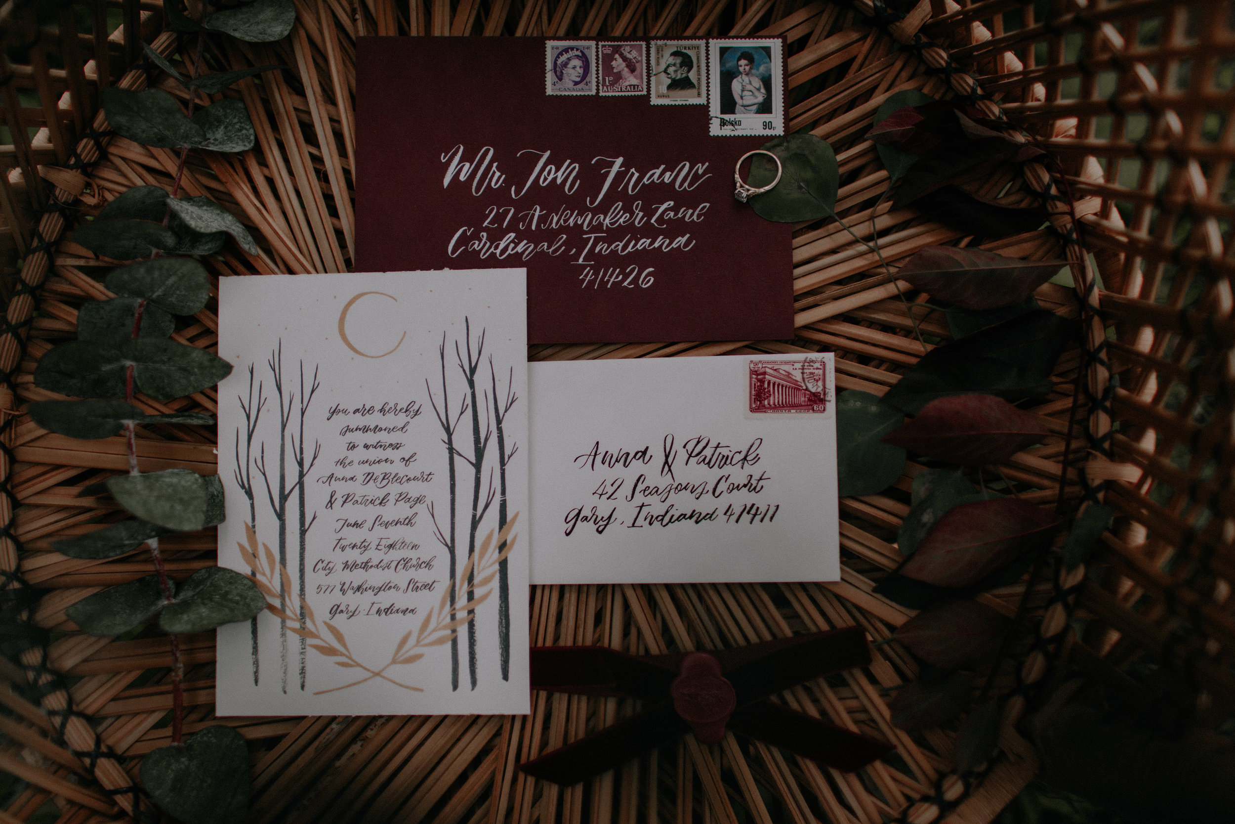 Maroon Wedding Invitation Game of Thrones for Chicago Elopement