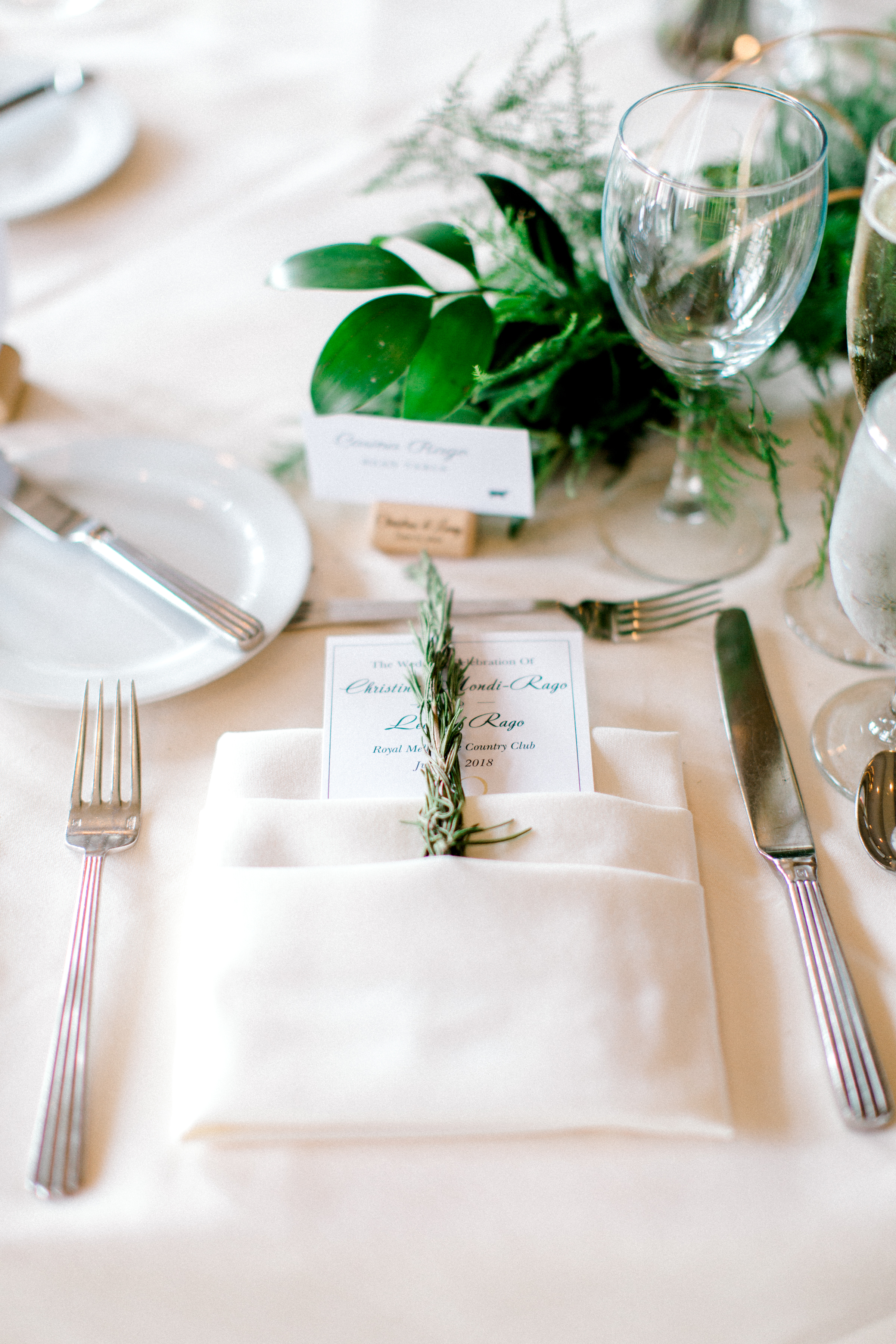 Wedding Details, sprig of Rosemary in napkin Spring Chicago Wedding planned by Your Day by MK