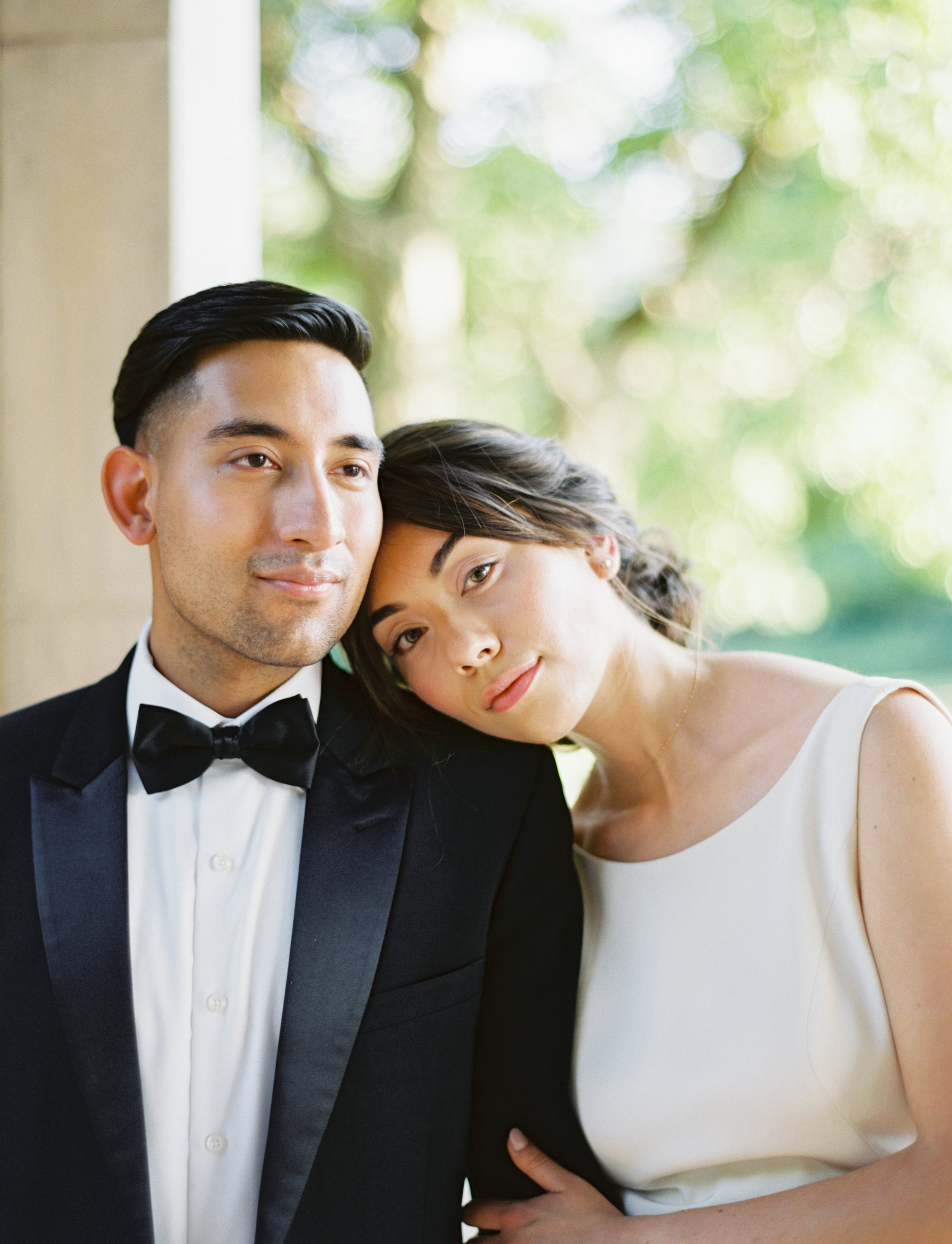 Soft black tie wedding bridal protraits