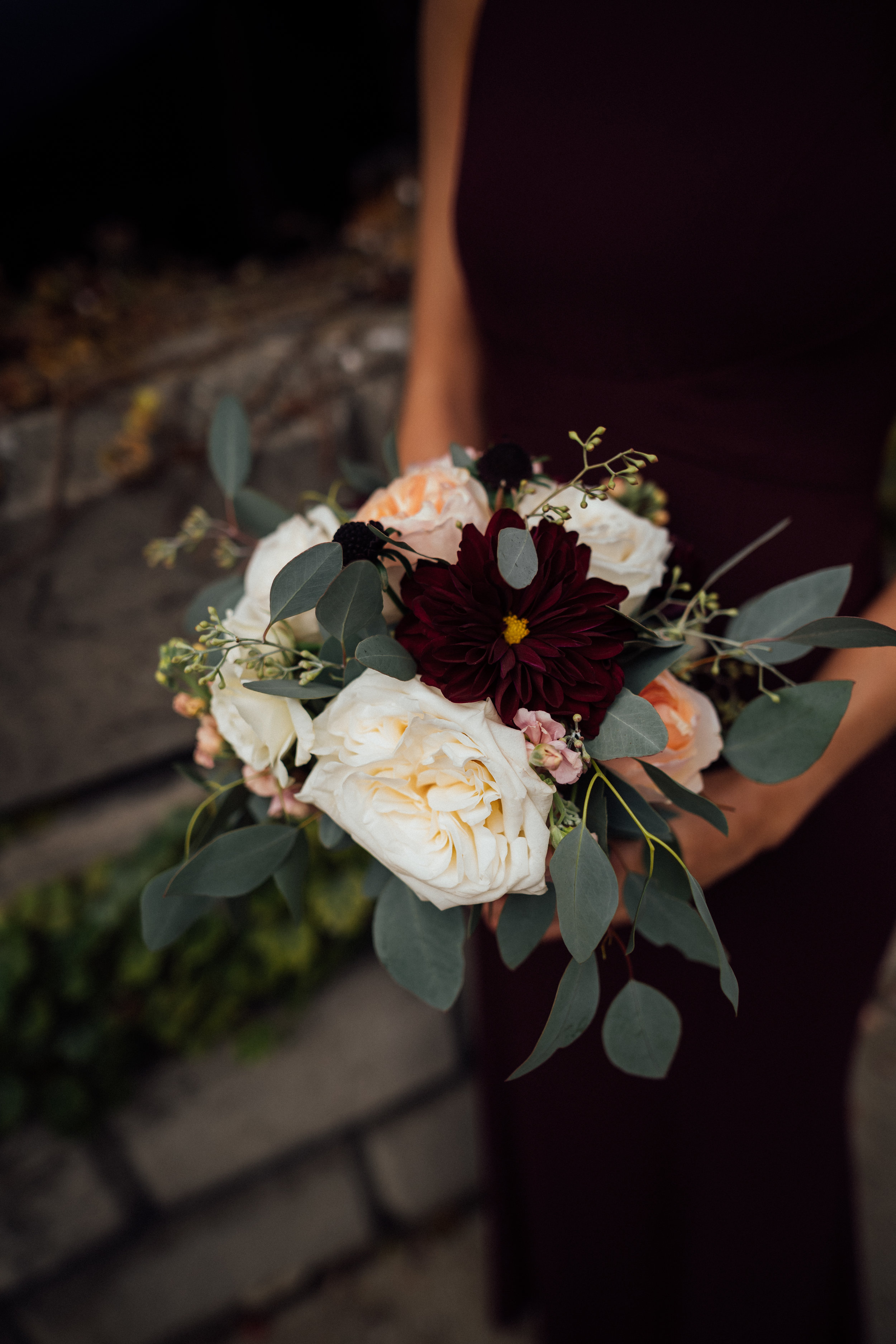 Maroon and Blush bridesmaids bouquet | Fall Bouquet | Chicago Illuminating Company Wedding | Fall Chicago Wedding | Marriott Marquis Wedding | Chicago Wedding Planner | Your Day by MK