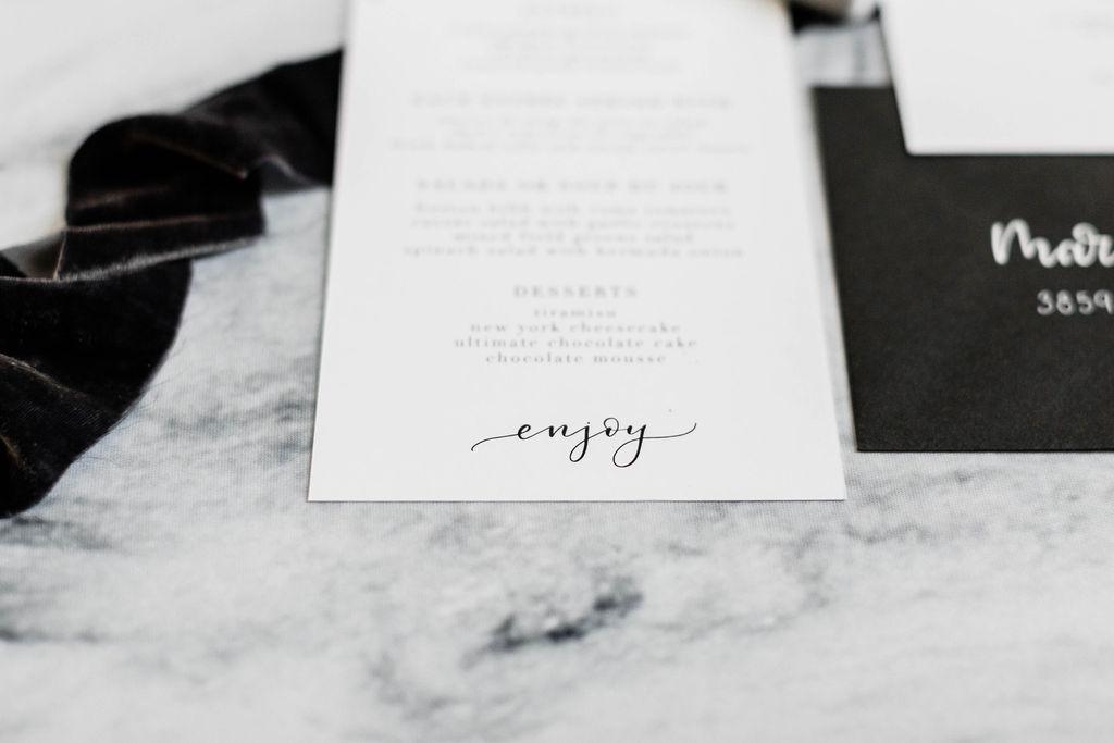Black and White Calligraphy | Wedding Invitation | Chicago History Museum | Black and White Wedding | Black Tie Wedding | Your Day by MK | Chicago Wedding Planner | Black Flatware