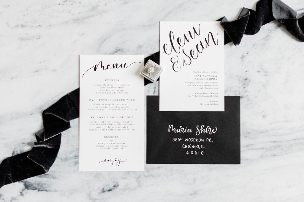 Chicago History Museum | Black and White Wedding | Black Tie Wedding | Your Day by MK | Chicago Wedding Planner | Black Flatware