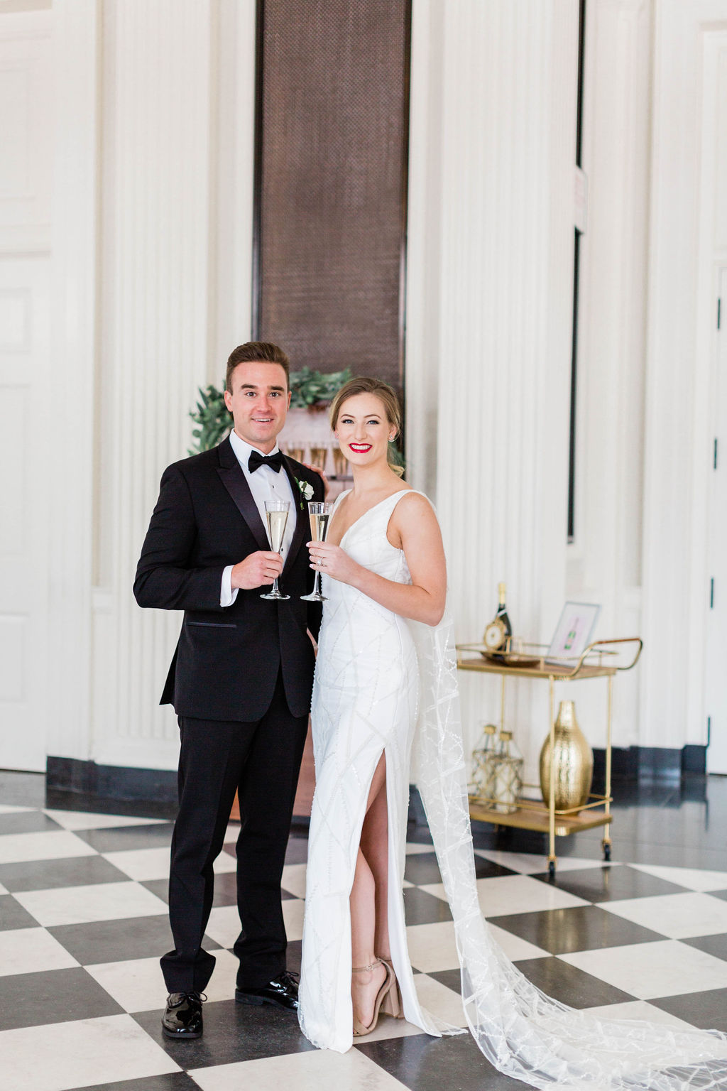 Champagne Wall |  | Chicago History Museum | Black and White Wedding | Black Tie Wedding | Your Day by MK | Chicago Wedding Planner |