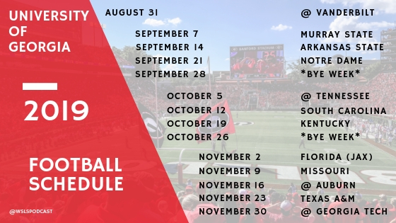 2019 Georgia Bulldogs Football Schedule - a gift for reading the Linkapalooza