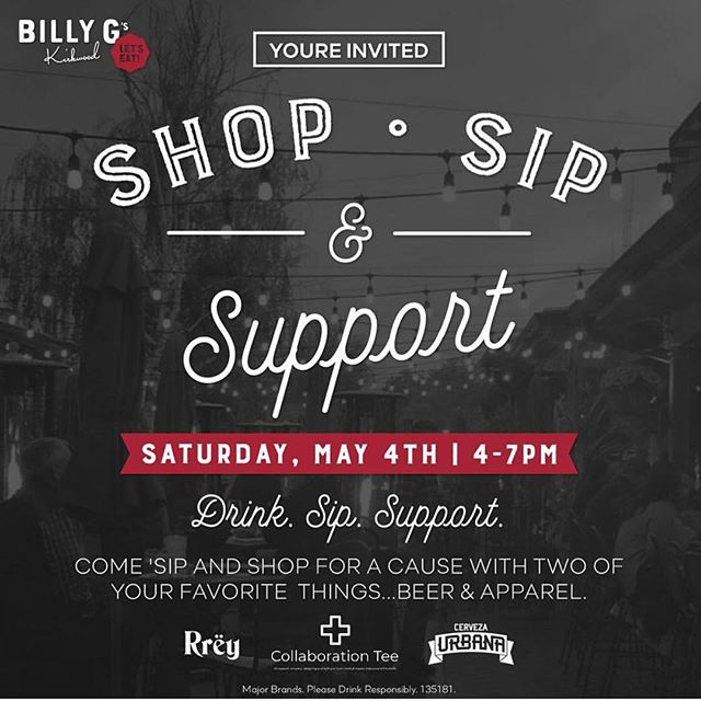 We are so excited for this collaboration with @collaboration_tee. Shopping + sipping = 💯! Join us May 4th at @billygskirkwood
