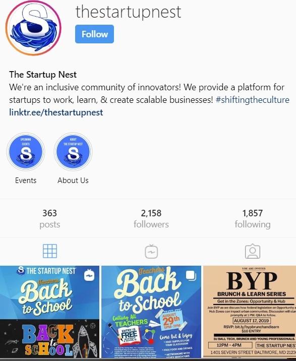 Start up Nest Instagram @thestartupnest