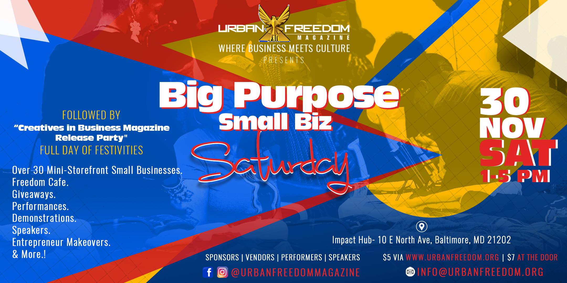 Big Purpose Small Business Saturday Baltimore November 30th Impact Hub Baltimore - Urban Freedom Magazine Presents