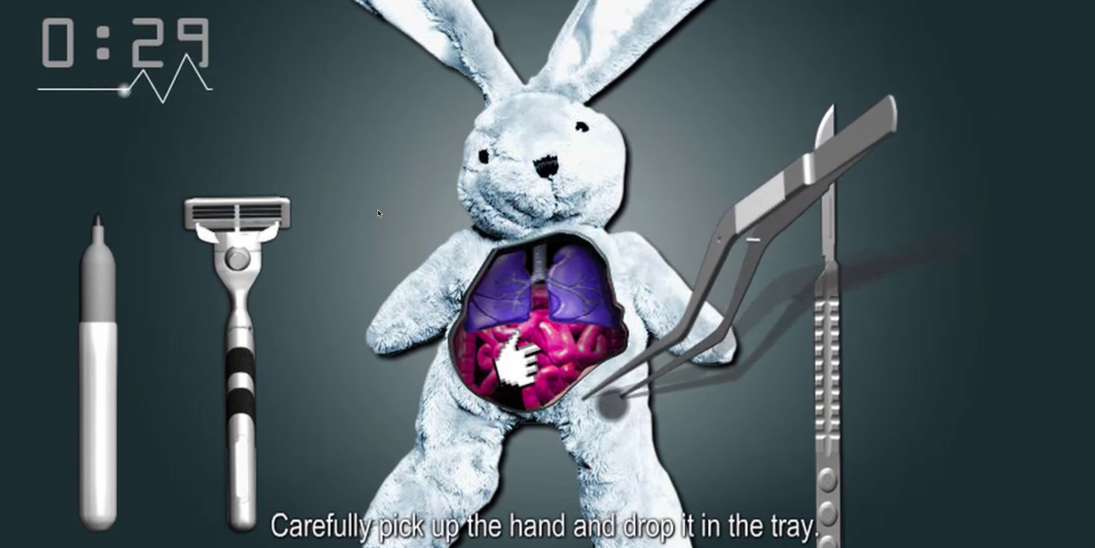 The virtual surgery game for kids, Cure the Bunny
