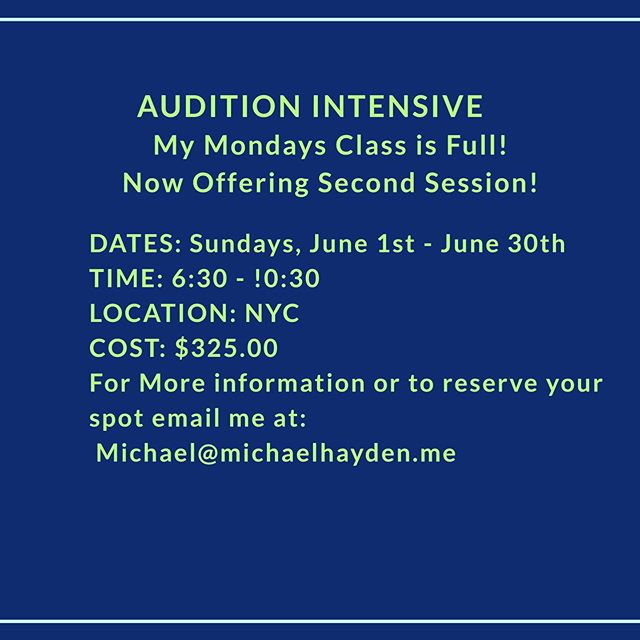 AUDITION INTENSIVE. JOIN US!