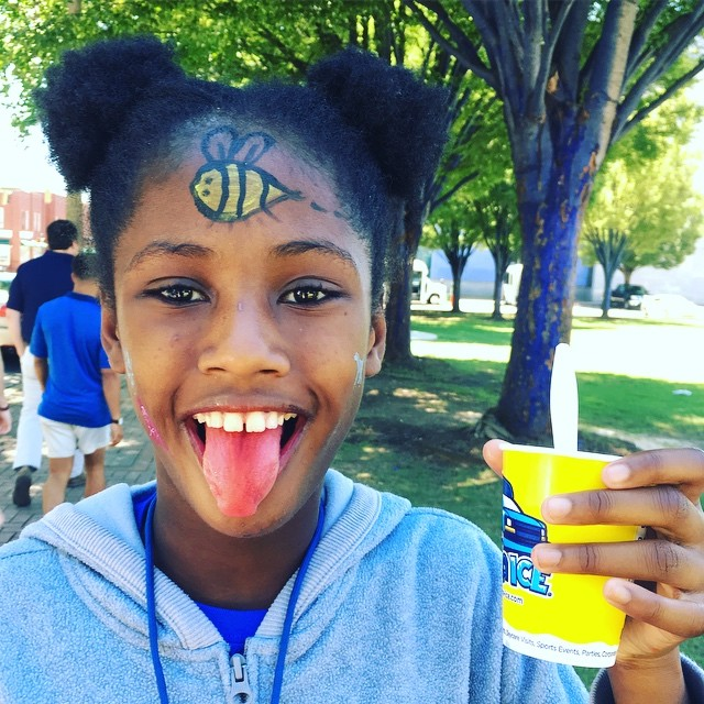 What a day to be a kid! Face paint & shaved ice today at the Bessie Smith Cultural Center Community Day!  #chattanoogasummercamps #whatcolorismytongue
