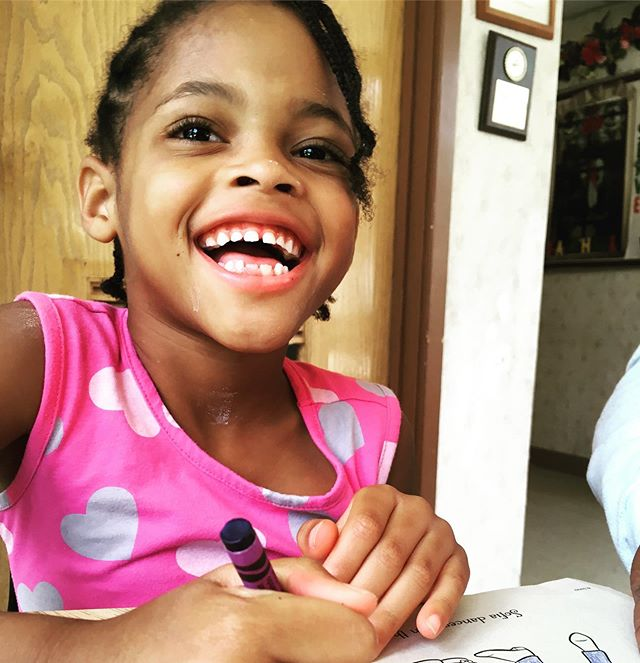 All smiles coloring with Ms. Phyllis!